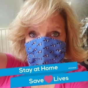 Nancy Mercer wearing a face mask