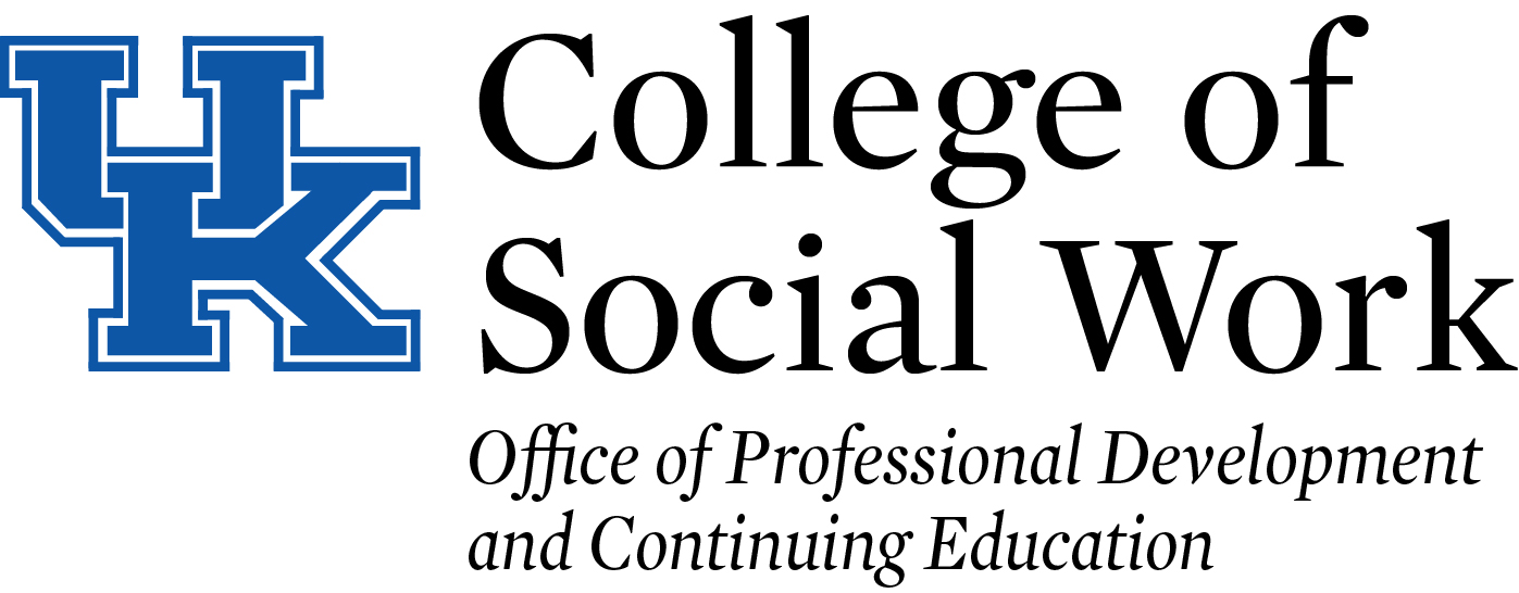 Logo featuring UK in bold blue lettering, College of Social Work, Office of Professional Development and Continuing Education