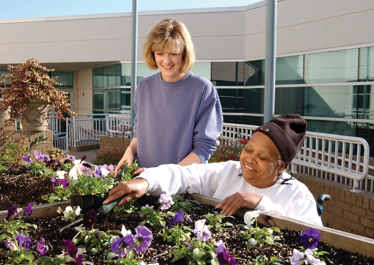 2 people gardening