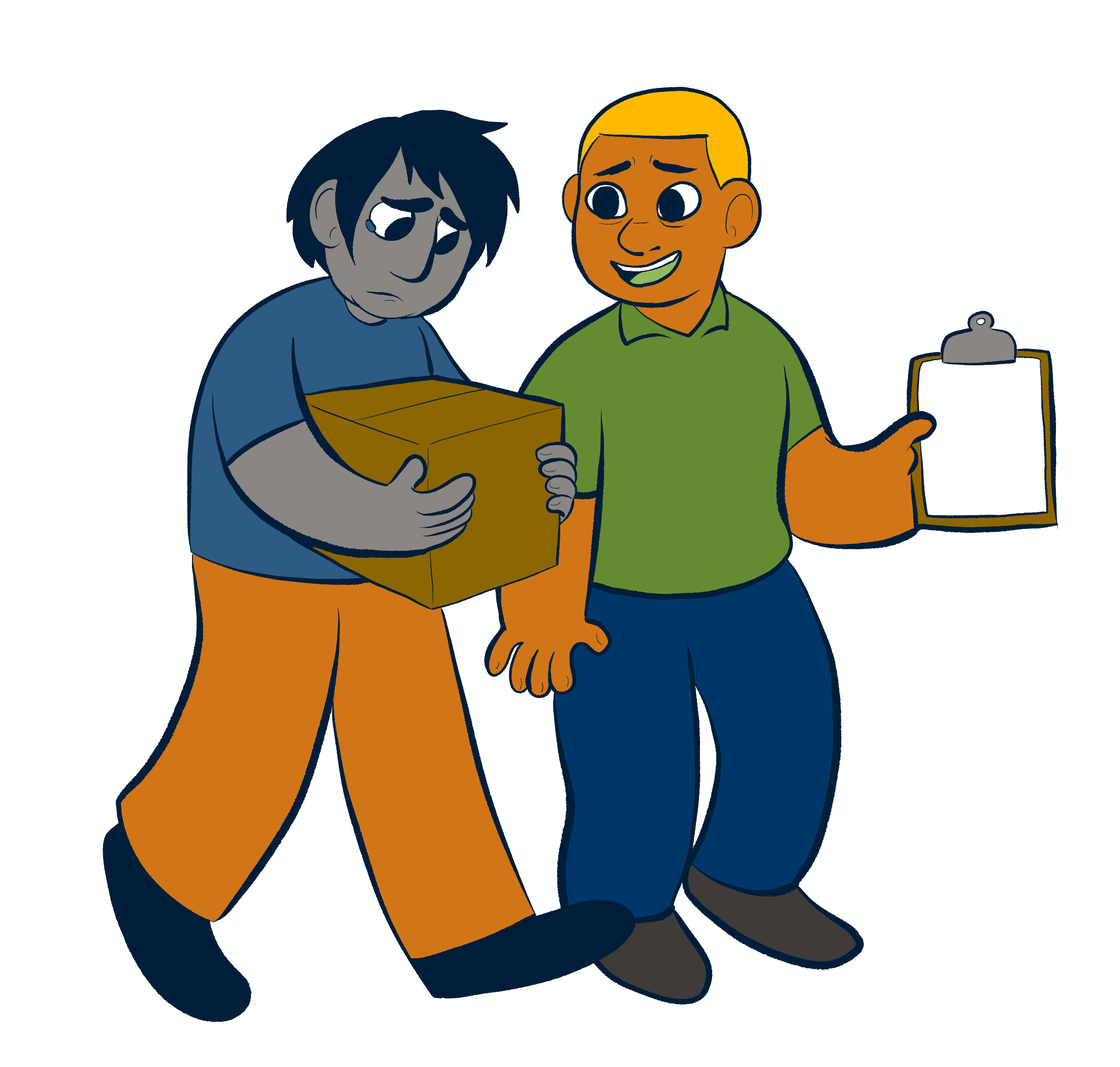 An illustration of two people, the older of the two has their hand on the younger person's shoulder.